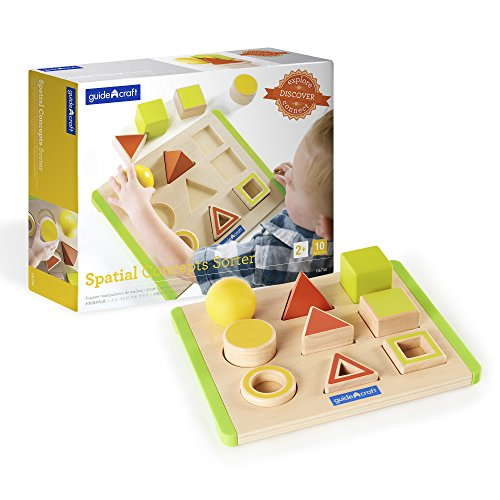 Guidecraft Spatial Concepts Sorter - Wooden Multi-Color Geometric Shapes for Toddlers, Kids Learning & Educational Toys