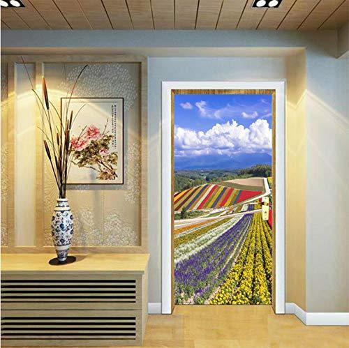 Pastoral Flower Fields Garden Scene deur muur Art sticker Vinyl Decal 3D muursticker DIY muur slaapkamer vinyl 90x200cm