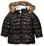 Spotted Zebra Girls' Kids Long Puffer Coat, Black Gold Stars, X-Small