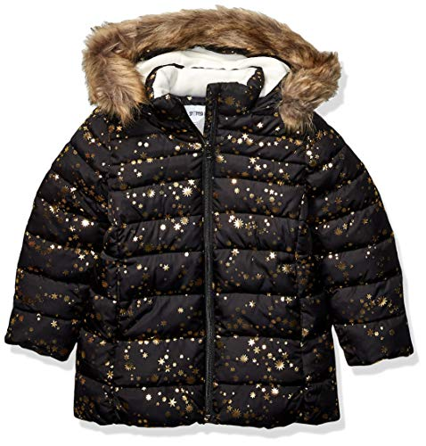 Spotted Zebra Long Puffer Coat Infant-And-Toddler-Down-Alternative-Outerwear-Coats, Black Gold Stars, Small (6-7)