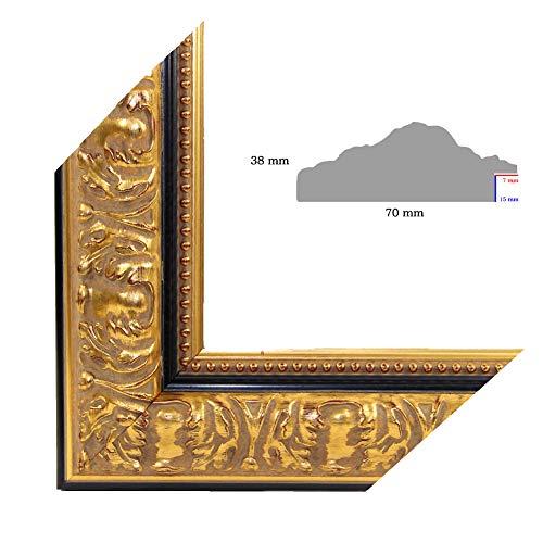 OLIMP-25 Bilderrahmen 33x95 cm Echtholz Barock in Farbe Altgold Schwarz verziert
