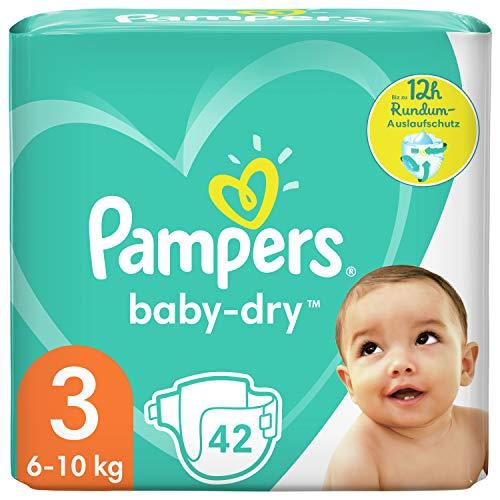 Pampers Baby-Dry Größe 3, 42 Windeln, bis zu 12Stunden Rundum-Auslaufschutz, 6-10kg
