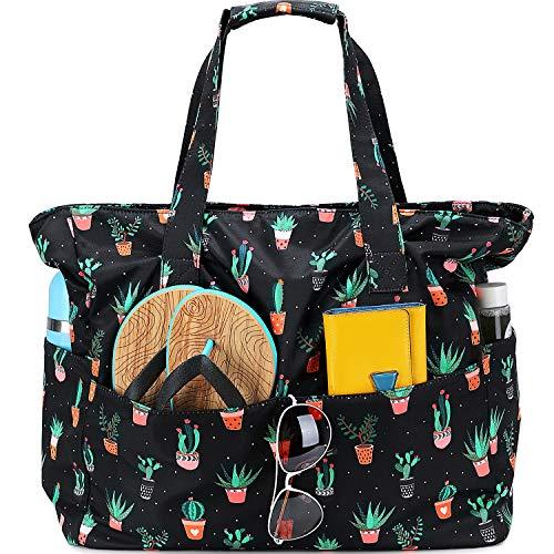 Strandtasche / Strandtasche, wasserdicht, für Damen, extra groß, mit Nassfach, für Wochenendausflüge, Kaktusschwarz