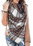 Yanekop Womens Big Blanket Scarf Soft Warm Tartan Plaid Scarf Shawl Fashion Wrap(White Blue Mix)