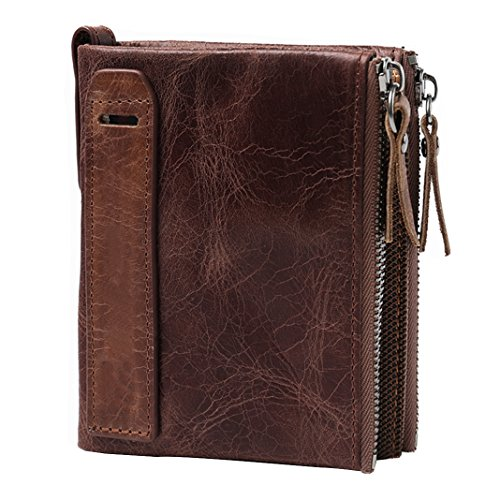 Monedero para hombres Monedero de cuero Grand Slim Wallet Pink Schleife® Crédito multifuncional Monedero Diseño de negocios Especialmente para hombres con múltiples ranuras para tarjetas marrones