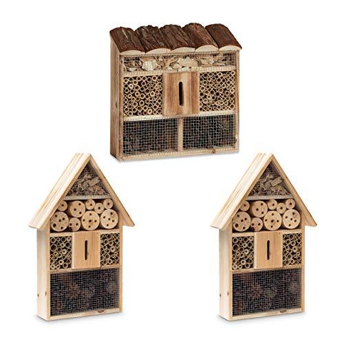 Relaxdays 3 teilige Insekten City, Insektenhotel Zum Aufhängen, Bienenhotel, Mit Schmetterlingshaus, Geflämmtes Holz, Natur