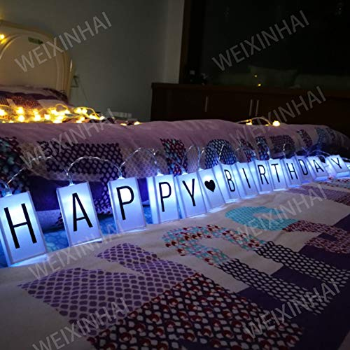 ALHXF LED Letter Light Box Rope Lights (78.7in 20led) Outdoor String Lights Happy Birthday Banner Birthday Holiday Decoration Battery Powered Box String Lights (LH33)