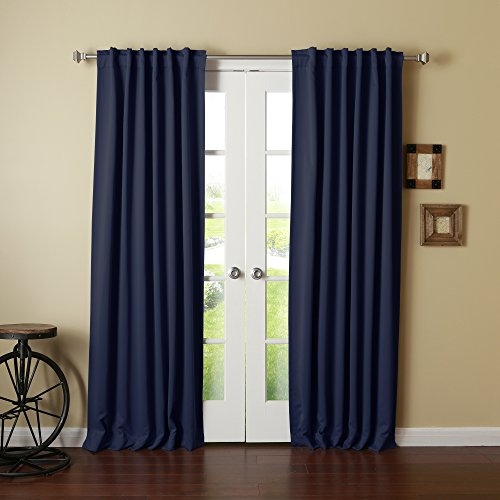 """Best Home Fashion Thermal Insulated Blackout Curtains - Back Tab/ Rod Pocket - Navy - 52"""" W x 102"""" L - (Set of 2 Panels)"""
