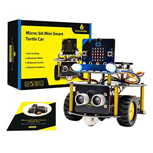 KEYESTUDIO BBC Micro:bit Robot Car Kit, Obstacle Avoidance, Light-tracing, Line-tracking, Remote Control with v1.5 Microbit Board