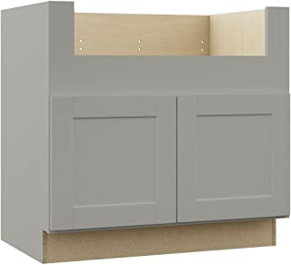Hampton Bay Shaker Assembled 36x34.5x24 in. Farmhouse Apron-Front Sink Base Kitchen Cabinet in Dove Gray