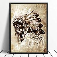 ブラック&ホワイトアメリカンネイティブインディアンポートレート絵画キャンバスポスタープリントスカンジナビアウォールアートリビングルームの装飾用/ 50x70cm-フレームなし