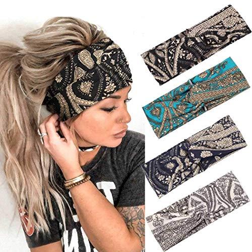 Fashband Boho - Diademas anchas, cruzadas, vendas para el pelo, vendas elásticas y elásticas, para yoga, al aire libre, accesorios para el cabello para mujeres y niñas (paquete de 4)
