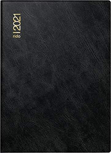 rido/idé 7018242901 Taschenkalender Technik III, 1 Seite = 2 Tage, 100 x 140 mm, Schaumfolien-Einband Catana schwarz, Kalendarium 2021