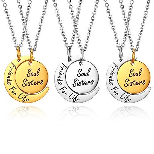 JewelryWe 6PCS Friendship Necklaces Best Friends/Couples Necklace Friends...
