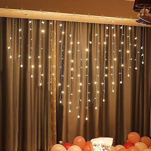 LCSD Lichtleiste Herzförmige Warmes Licht LED Lichterkette Vorhang Licht, Fee Lichterkette, Sternenlichterkette, Garten, Terrasse, Haus, Hochzeit, Party, Weihnachten