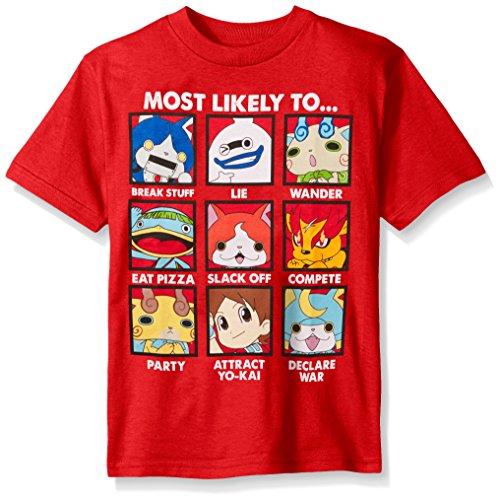 Yo Kai Little Boys' Short Sleeve T-Shirt Shirt, Red Group, Small/4