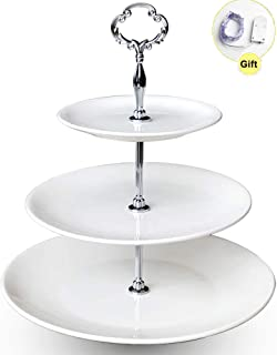3 Tier Serving Tray Ceramic Stand for Cupcake Cake Dessert Pastry fruit Tea Party(big size)