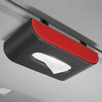 2 Pieces Car Tissue Holder Car Visor Tissue Holder Luxury Leather Case Hanging Car Tissues Holder for Car & Truck Decoration  Black red