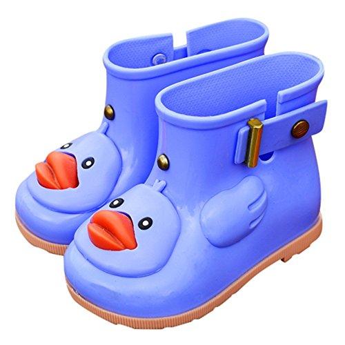 Jshuang Blue Cartoon Duckling Student Rain Boots Rain Boots Non-Slip Shoes, Infant Kids Children Baby Cartoon Duck Rubber Waterproof Boots Rain Shoes,Age1-7 Rain Shoes (Blue, 24)