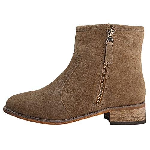 Alexis Leroy Zapatos con Cremallera - Botines Chelsea de Cuero Mujer Caqui 39 EU