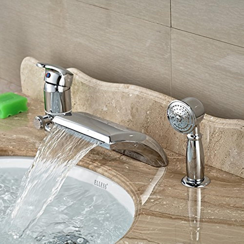 Messing Chrom Wasserfall Ausgieer mit Handdusche Bad Badewanne Füller Deck Mount Chrome beendet