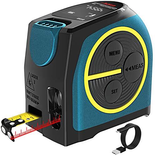 Misuratore di Distanza Laser Digitale, Hanmer Misuratore Laser Ricaricabile Misuratore Laser, Misuratore di Portata Digitale (misura nastro laser)