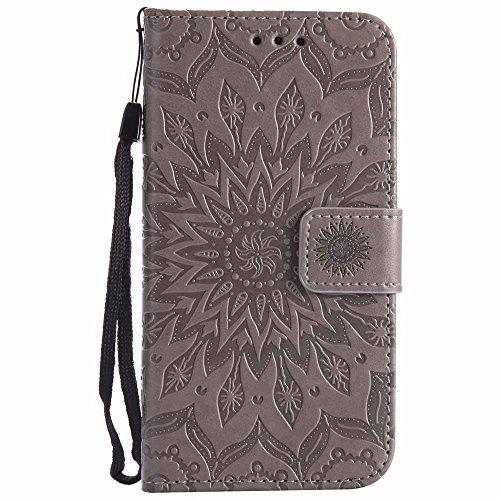 Dfly Lumia 650 Hülle, Premium Slim PU Leder Mandala Blume Prägung Muster Flip Hülle Bookstyle Stand Slot Schutzhülle Tasche Wallet Case für Microsoft Lumia 650, Grau