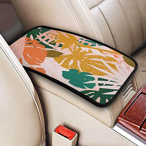 N\ A Palm Tree Palm Leaf Car Center Console Armrest Cover Cushion Pad for Women Universal Auto Middle Console Covers Protector Mat Car Decor Accessorie for Sedan Van SUV Truck