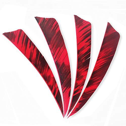 SHARROW 50piezas Tiro con Arco Plumas de Flecha 4 Pulgadas Pluma Natural Fletching (Rojo 2)