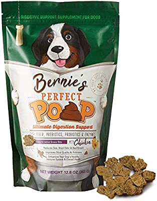 BERNIE'S PERFECT POOP Digestion & General Health Supplement for Dogs: Fiber, Prebiotics, Probiotics & Enzymes Relieve Digestive Conditions, Optimize Stool, and Improve Health (Chicken, 30.0 oz)