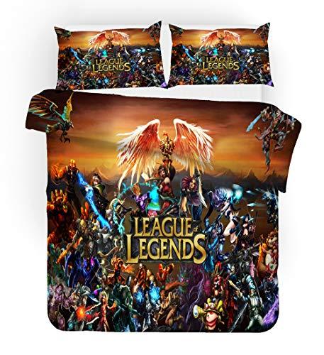 UOUL 3 Stück Bettwäsche 3D dreidimensionale League of Legends Muster Polyesterfaser weich und bequem für Kinder und Jugendliche,League of Legends,Single