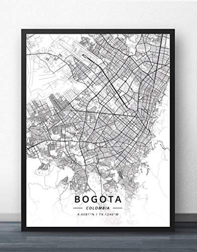 Cuadro Sobre Lienzo,Bogotá Colombia Mapa De La Ciudad Imprime Carteles Murales Blanco Negro Pared Arte Rectángulo Pintura Pop Imágenes Para La Sala De Estar Dormitorio Casa Decoración,70X100Cm/ 2