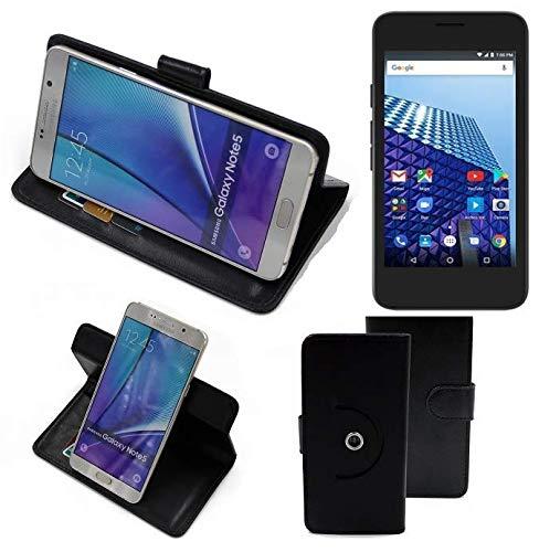 K-S-Trade® Handy Hülle Für Archos Access 45 4G Flipcase Smartphone Cover Handy Schutz Bookstyle Schwarz (1x)