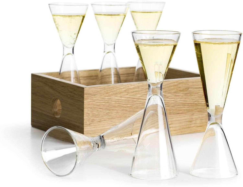 Sagaform 5017704 Reversible Shot Glass Set, Clear Brown