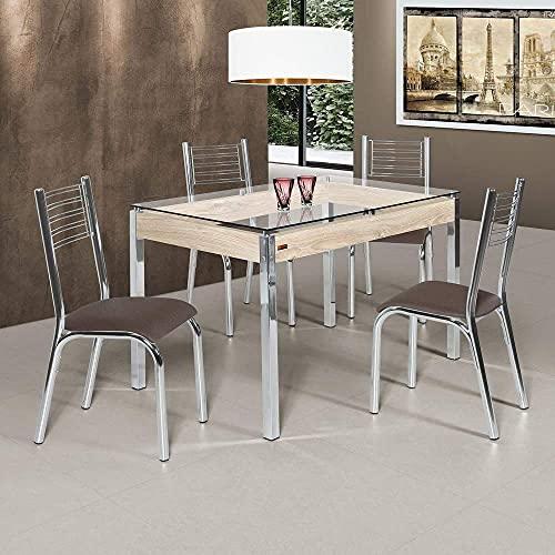 Conjunto de Mesa com Tampo de Vidro 4 Cadeiras Camila Premium Ciplafe Cromado/linho Marrom