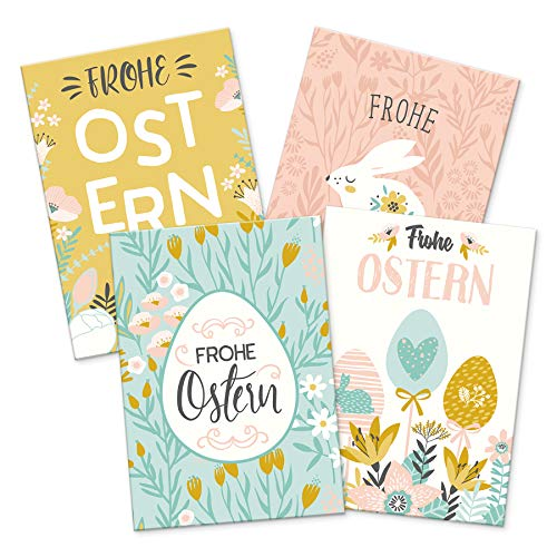 itenga 12 x Postkarte Grußkarte Frohe Ostern - Osterkarte pastell 4 Motive Geschenkkarte Geschenkanhänger für kurze Texte Namensschild