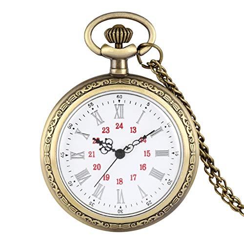 KKDS Clásico Ningún diseño de Cubierta Relojes de Bolsillo de Cuarzo Números Romanos Bronce Floral Rattan Back Case Collar Retro Cadena Reloj para Hombres Mujeres para el cumpleaños del día del Padre