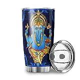 Taza de viaje de acero inoxidable con tapa resistente a las salpicaduras para yoga, diseño de elefante, de 590 ml, color blanco