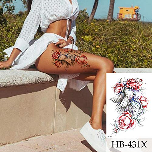 shiyueNB Dibujo Flor Lobo Tatuaje Impermeable Negro...