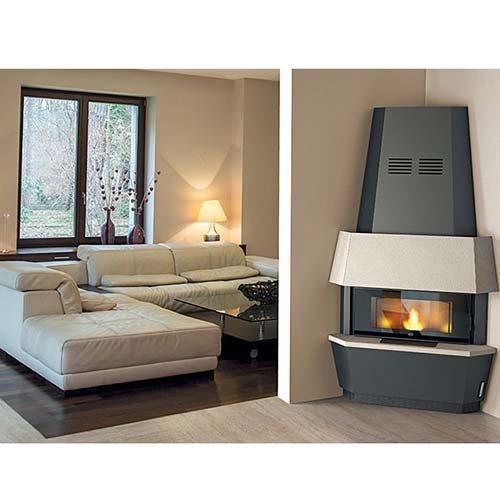 Estufa de pellet Eva Calor Giotto Serpentino, 12 kW, gris silicio