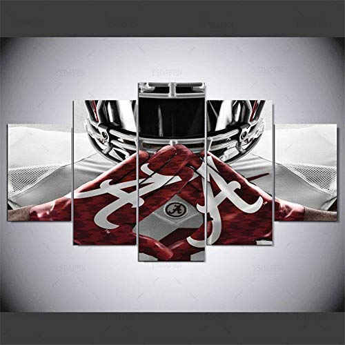 Lihuaiart Alabama Crimson Tide College Football Team Sport,Artwork Wall Art Home Wall Decorations for Bedroom Living Room Oil Paintings Canvas Prints-1059 (Framed,5PCS)