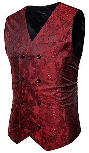 WHATLEES Herren Enge Jacquard Smoking Anzugweste mit glitzerndem Paisley Muster, B933-red, S