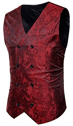 WHATLEES Herren Enge Anzugweste aus Jacquard Smoking mit glitzerndem Paisley Muster, B933-red, XL