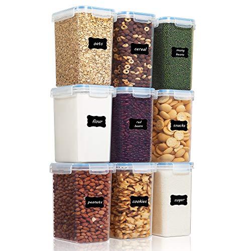 Vtopmart 2L Vorratsdosen Set, Müsli Schüttdose & Frischhaltedosen, BPA frei Kunststoff Vorratsdosen luftdicht,Trockenfutterbehälter, Satz mit 9, 24 Etiketten für Getreide, Mehl, Zucker usw