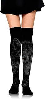 Retrato de una cabeza de lobo Calcetines hasta la rodilla para mujer Calcetines de novedad Medias divertidas de pierna de tubo