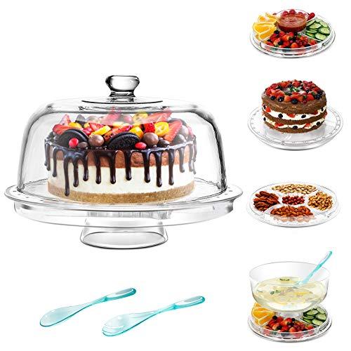 MASTERTOP 6-in-1-Acryl Tortenplatte mit Deckel und Fuß,Kunststoff Tortenständer mit 2 Löffel,Server Chip & Dip Multifunktions Kuchenständer 12 x 6,6 x 12 In