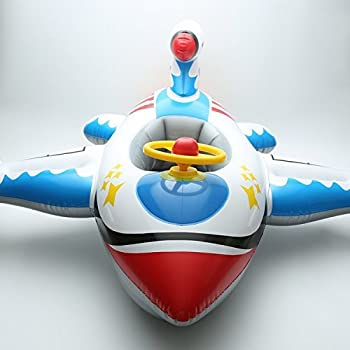 Inflatable Airplane Baby Kids Toddler Infant Swimming Float Seat Boat Pool Ring (C White+Blue)