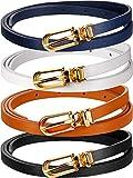 Cinturón de Cintura Flaco de Mujer Cinturón Fino de Piel Sintética de Color Sólido con Hebilla (4 Piezas, Negro, Blanco, Marrón, Azul Marino,)