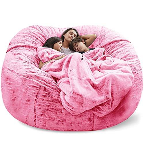 183cm gigante beanbag sofa abrazo  silla grande  Piel esponjosa Beanbag de la cama de la cama de la cama sin asiento de llenado Sofá Futón Futón Lazy Sofá reclinable COV  Sin relleno  (Color: Negr