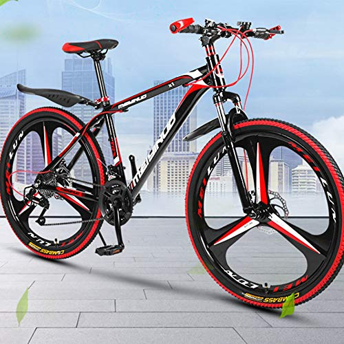 26 Inch Mountain Bikes,21/24/27 Speed Aluminum Alloy Super Light Bicycle,Black Red,for Men Women Adult Student